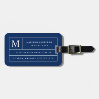 Navy Blue Modern Lines | Luggage Tag