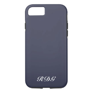 Navy Blue Modern Professional With White Monogram iPhone 8/7 Case