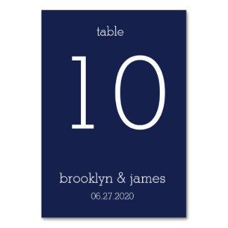 Navy Blue Modern Wedding Table Cards