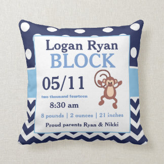 Navy Blue Monkey Baby Announcement Pillow