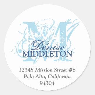 Navy blue monogram antique grunge address label round sticker