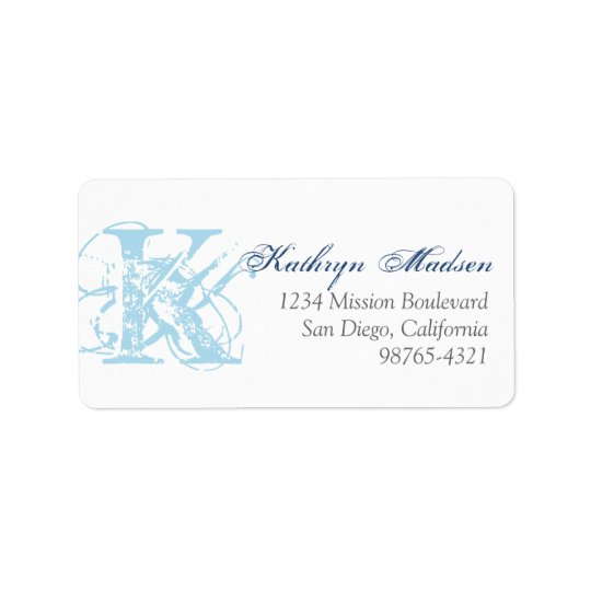 Navy blue monogram distress grunge return address label