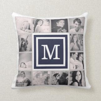 Navy Blue Monogram Instagram Photo Collage Throw Cushion