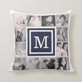 Navy Blue Monogram Instagram Photo Collage Throw Pillow