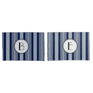 Navy Blue Monogram Modern Lines Contemporary Pillowcase