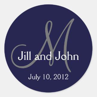Navy Blue Monogram Wedding Bride Groom Date Seal