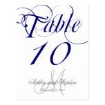 Navy Blue Monogram Wedding Table Number Card Postcards