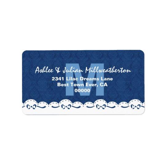 Navy Blue Monogram White Lace Wedding M482F Label