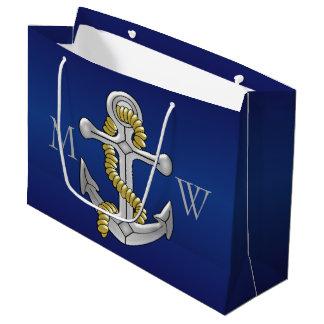 Navy Blue Monogrammed Anchor Large Gift Bag