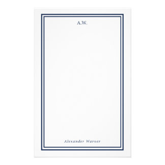 Navy Blue Monogrammed Stationery