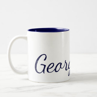 Navy Blue Monogrammed Textured Name Two-Tone Coffee Mug