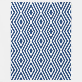 Navy Blue Moods Diamond Chevrons Fleece Blanket