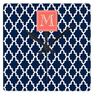 Navy Blue Moroccan Coral Monogram Square Wall Clock