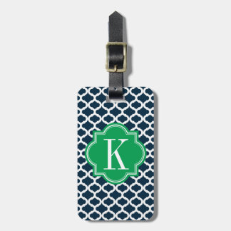 Navy Blue Moroccan Pattern with Green Monogram Luggage Tag