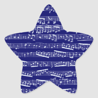 Navy blue music notes star stickers