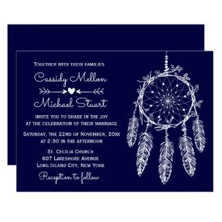 Navy Blue Native American Dream Catcher Wedding Card