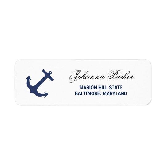 Navy Blue Nautical Anchor Baby Shower Return Address Label