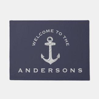 Navy Blue Nautical Anchor Custom Welcome Doormat