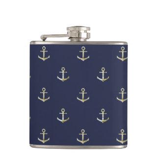 Navy blue nautical anchor flasks