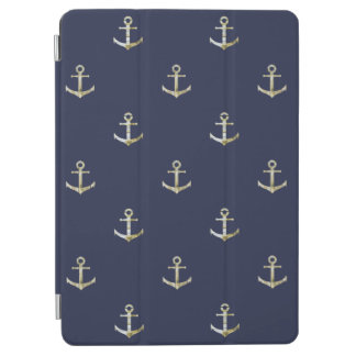 Navy blue nautical anchor iPad air cover