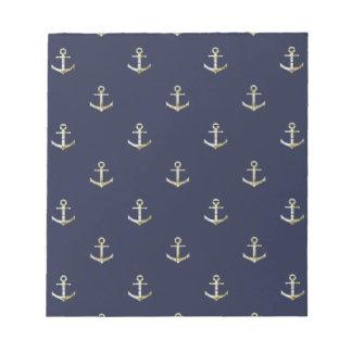 Navy blue nautical anchor notepad