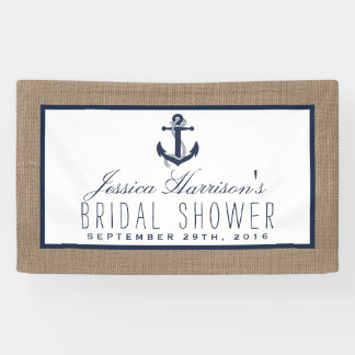 Navy Blue Nautical Anchor On Burlap Bridal Shower Banner