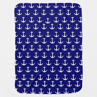 Navy Blue Nautical Anchor Pattern Baby Blanket