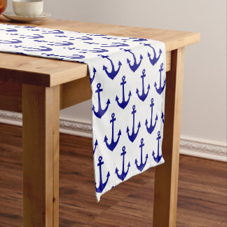 Navy Blue Nautical Anchor Pattern Long Table Runner