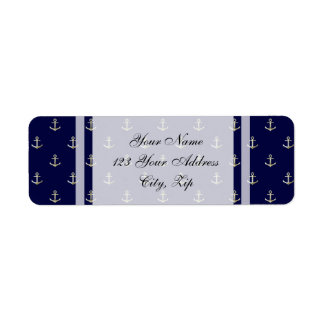 Navy blue nautical anchor return address label