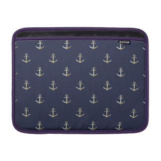 Navy blue nautical anchor sleeve for MacBook air