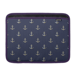 Navy blue nautical anchor sleeves for MacBook air
