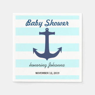 Navy Blue Nautical Anchor Stripes Baby Shower Disposable Napkin
