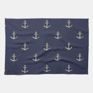 Navy blue nautical anchor tea towel