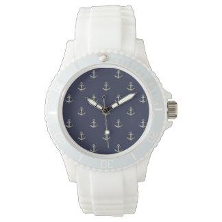 Navy blue nautical anchor watch