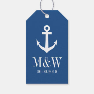 Navy blue nautical anchor wedding favor gift tags