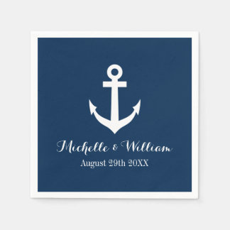 Navy blue nautical anchors aweigh wedding napkins paper napkins