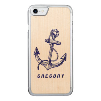 Navy Blue nautical Boat Anchor Carved iPhone 7 Case