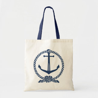 Navy Blue Nautical Boat Anchor With Rope Knot Tote Bag