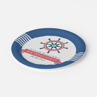 Navy Blue Nautical Boat Wheel & Stripes Paper Plate