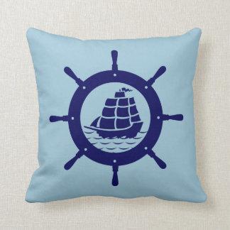 Navy Blue Nautical Boat Wheel Throw Pillow