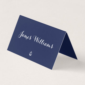 Navy Blue Nautical Folded Place Setting Cards