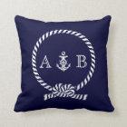 Navy Blue Nautical Rope and Anchor Monogram Cushion