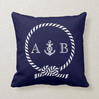 Navy Blue Nautical Rope and Anchor Monogram Cushions