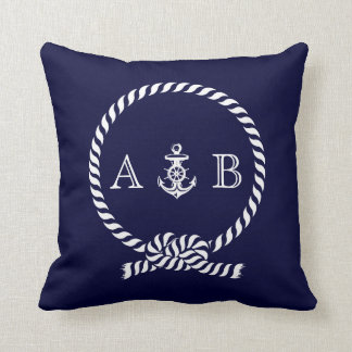Navy Blue Nautical Rope and Anchor Monogram Throw Pillow