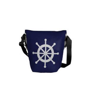 Navy Blue Nautical Ship Wheel Courier Bags