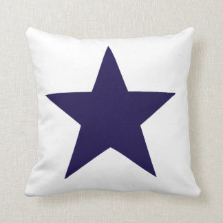 Navy blue nautical star on white background throw pillow