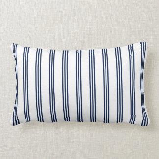 Navy Blue Nautical Striped Lumbar Pillow