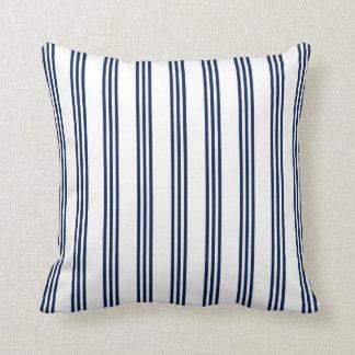 Navy Blue Nautical Striped Throw Pillow