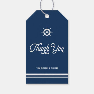 Navy Blue Nautical Thank You Script with Helm