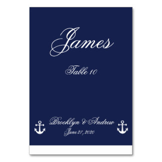 Navy Blue Nautical Wedding Table Cards Table Cards